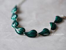 plata esmalte verde hoja Pulsera Mujer Joyería