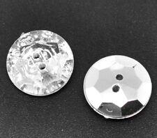 10 Stück Acrylknöpfe Rund Silberfarben Facettiert, 2 Löcher, Durchmesser 18mm