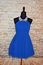 Modcloth Peach to Meet you Dress Blue Halter NWT Sz 9/10  Jeweled Homecoming