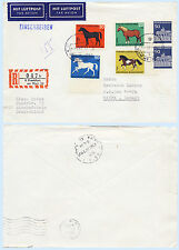 Germany 1969 #B442-45 Horses Registered Airmail Cover to Israel