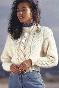 LADIES CHUNKY SWEATER WITH POMPONS KNITTING PATTERN 30/40 UNUSUAL DESIGN (1817)
