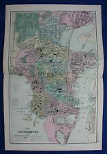 PLAN OF SOUTHAMPTON, original antique atlas map / city plan, George Bacon, 1895