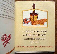 Publicité livre de cuisine publicitaire Bouillon Kub - Maggi 1936