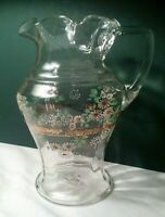 Antique Victorian Art Glass Enameled Floral Daisy Clear Pitcher Vtg Hand Painted