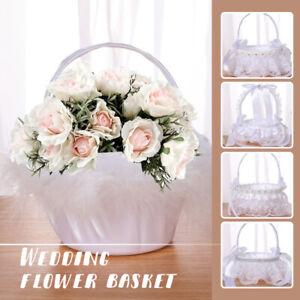 Lace Trim Pear Basket Bow Wedding Basket Bowknot Flower Girl Basket For Wedding
