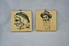 2 Vintage/Antique Hand Painted Tiles With Bust Of Jewish Men RELISTED