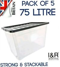75L 75Litre Large Plastic Storage Clear Boxes Strong Box Stackable Container