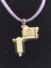 "Tattoo Gun TG55 Fine English Pewter On 18"" Purple Cord Necklace"