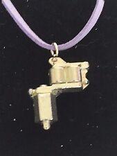 "Tattoo Gun TG55 Fine English Pewter On 18"" Purple Cord Necklace"
