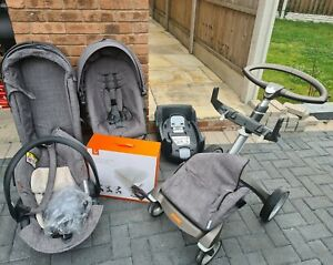 Stokke Xplory V4 Pushchair Grey - Carry Cot, Car Seat, Isofix, with Summer Kit