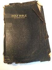 Vtg Holy Bible Self-Pronouncing Edition Red Letter KJV Leather Needs Restoration