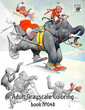 Adult Coloring Book (24 pages) Funny Monkeys Vintage Cartoon FLONZ grayscale 048