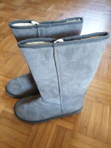 Damen Schlupfstiefel Warm Gefütterte Stiefel Winter Boots, grau, Gr. 39, Neu
