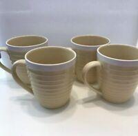 "Set of 4 Sango Rio Yellow  4"" Coffee Mugs Cups"