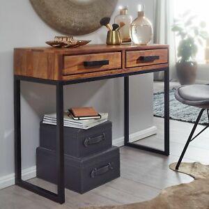 WOHNLING Konsolentisch Sheesham Massivholz 90 cm Flurtisch Schmal Schreibtisch