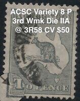 2d Grey Kangaroo ACSC Variety Roo 8 P 3rd Wmk Die IIA  @ 3R58 sg 35d CV $50