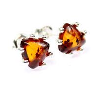 SilverAmber Jewellery Earings GL072 925 Sterling Silver Cognac Amber Stones