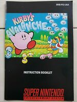 Kirbys Avalanche Super Nintendo SNES Instruction Booklet Manual Only