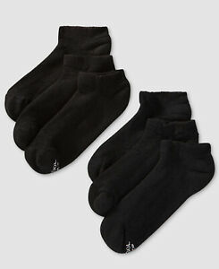 $79 Hanes Men's 6-Pair Pack Black NO-Show Cooling X-Temp Ankle Socks Shoe 6-12