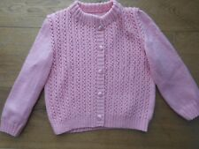 Handmade Knit Girls Kids Button Down Pink Sweater Size 4T 5t