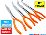 "4 x HighQuality 11"" Extra Long Nose Pliers Set Straight Bent Tip Mechanics 25-28"