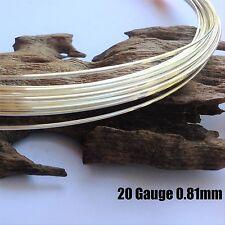 1 metre 20ga (0.8mm) Sterling Silver 925 Round Beading Wire Half Hard
