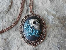 SKULL AND ROSES (DARK TEAL) HAND PAINTED CAMEO COPPER PENDANT NECKLACE - GOTH