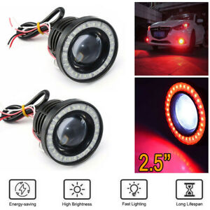 2.5 Inch 64MM Car COB LED Fog Light Projector Red Angel Eyes Halo Ring DRL Lamp