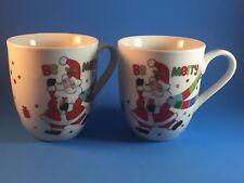 "Fitz & Floyd Coffee Cake Mugs NIB Set of 2 ""BE MERRY"" Christmas Cups With Recipe"