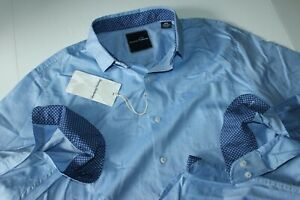Tommy Bahama Shirt Cape Side Herringbone Bering Blue LS New Medium M