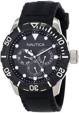 Nautica N13643G Black Round Dial Black Rubber Band / Strap Men's Day Date Watch