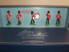 Britains 00090 Guardie Scozzesi A TAMBURO + Bugle BAND METAL Toy Soldier Figure Set