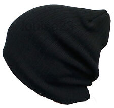 Homme Cool Rétro oversized Slouch Beanie Hat Câble Noir