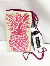 NEW Bamboo Trading Co Beaded PINK PINEAPPLE Club Crossbody Wristlet Bag Purse