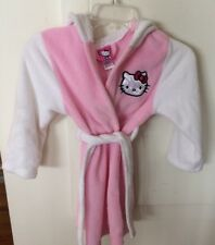 Hello Kitty By Sanrio Hooded Pink White Belted Robe Girls Size Small