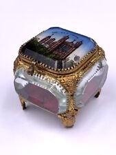 Boîte coffret à bijoux Lyon N.D. de Fourrière fixé sous verre Antique jewel box