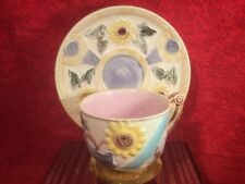 Cup and Saucer Antique Majolica Sunflower and Urn c.1877-1887, em286