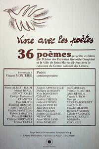 🌓 Vivre avec les poètes 41/100 1983 MONTEIRO SOUPAULT TZARA GUILLEVIC BONNEFOY