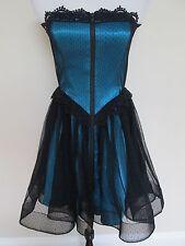 NWT Auth Betsey Johnson Collection Turquoise Black Polka Dot Mesh Tea Dress Sz 6
