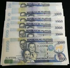 2012 1,000 Peso Notes Phillipines Aquino Almost Uncirculated