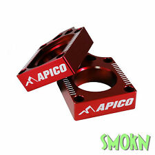 Apico Rear Axle Spindle Adjuster Blocks Honda CR 125 250 02-07 CRF450R 02-17 Red