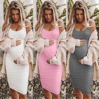 Scoop Neck Sleeveless Dress Pregnant Women Slim Cloth Summer Casual Maternity