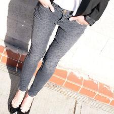 NWT CURRENT ELLIOTT Grey Leopard Print Corduroy Pants Skinny Jeans Size 25 $218