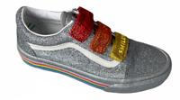 Vans (Old Skool V) Flour Shop Silver Rainbow Glitter Womens Sz 8 Shoes New NIB