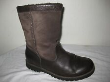Ugg  Blrown Leather Sheepskin Lined Winter Boots Shoes Women's Size 4