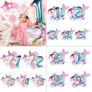 Rainbow Unicorn Mermaid Theme Number Foil Balloons Kit Birthday Party Decoration