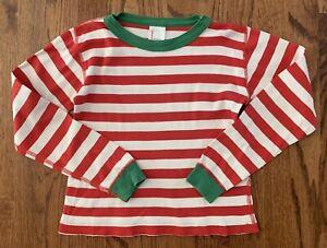 Hanna Andersson Christmas Pajama Top Red White Stripe Green Trim Sz 120 cm 6-7