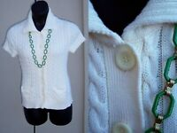 LL Bean winter white ivory cardigan sweater size M FALL cotton knit top POCKETS
