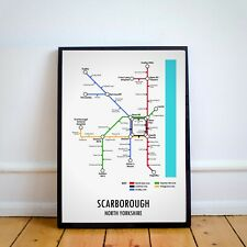 A4 Scarborough North Yorkshire Underground Style Transport Art MAP Print Gift