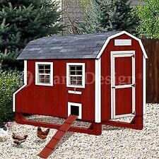 4'x7' Barn Style Chicken Poultry Coop Plans, Material List Included #90407B